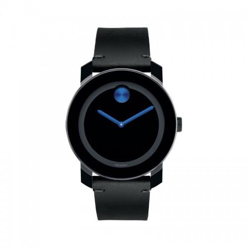 Movado Bold Quartz Black Dial Black Leather Men's Watch