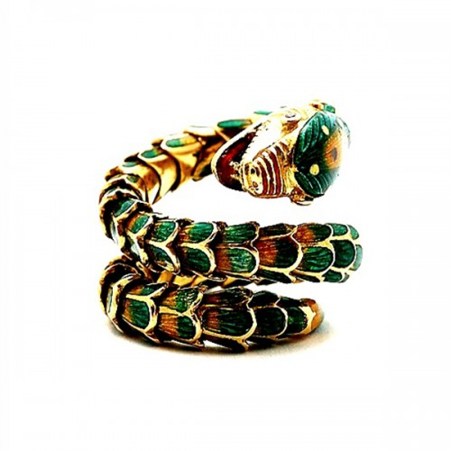 Estate Ladies Enamel Snake Ring