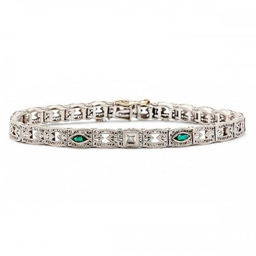 Estate Diamond & Emerald Bracelet