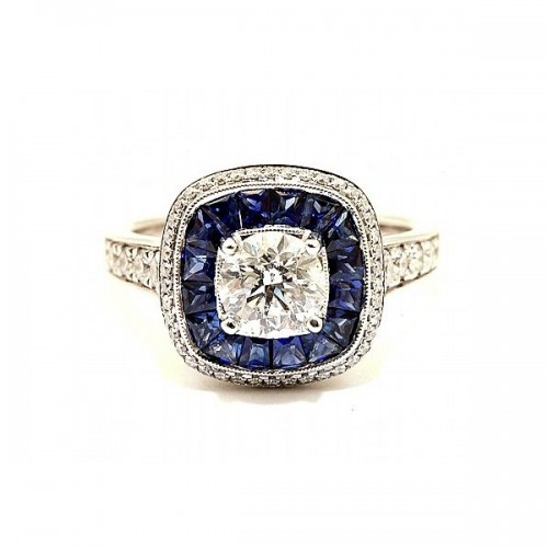 Simon G. Diamond & Sapphire Engagement Ring