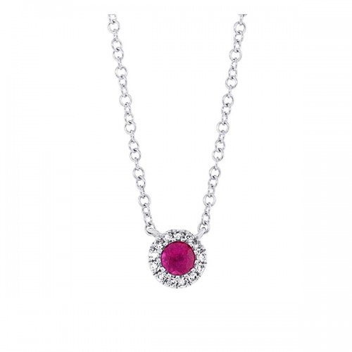 Small Ruby Halo Necklace