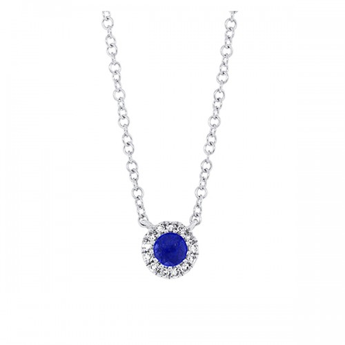 Small Sapphire Halo Necklace
