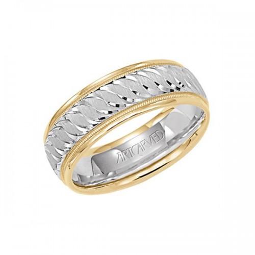 Men's Gold Engraved Wedding Band