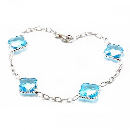 Blue Topaz Sterling Silver Bracelet