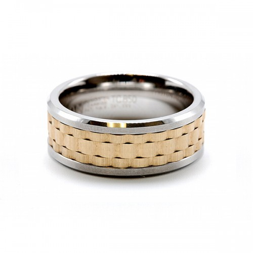 Men's Tungsten Carbide Two Toned Wedding Band