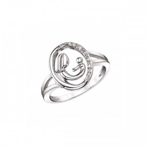 Sterling Silver Mother & Child Diamond Ring