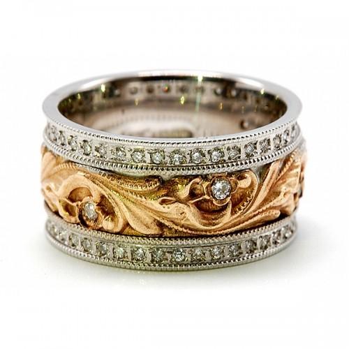 Floral Design Wedding Band with Diamond Rims