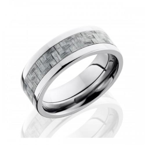 Men's Titanium Wedding Band with Carbon Fiber Inlay