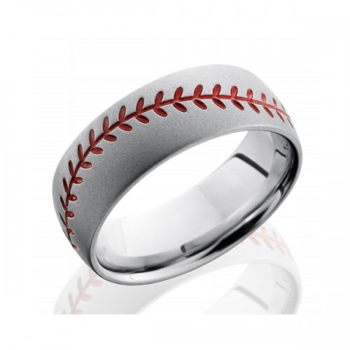 Men's Cobalt Chrome Wedding Band with Baseball Design