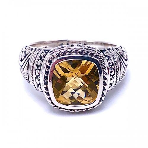 Sterling Silver Citrine Ring by Samuel B.