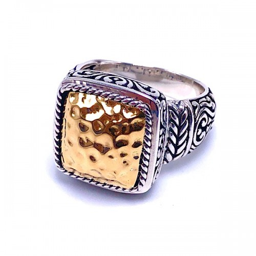 Hammered Gold & Sterling Silver Ring by Samuel B.
