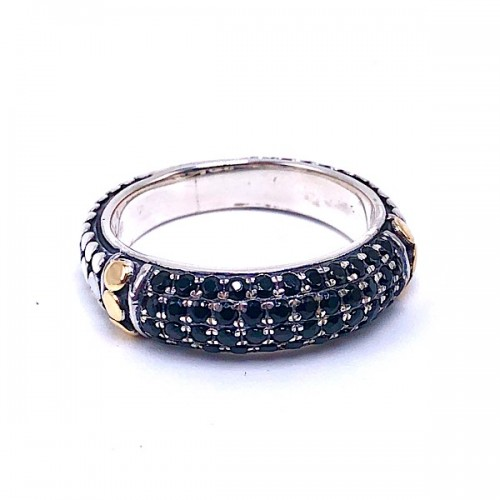 Pave' Black Spinel Sterling Silver Ring by Samuel B.