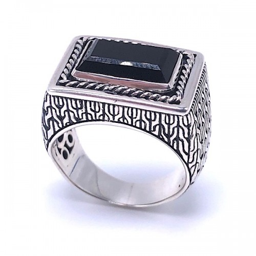 Sterling Silver Black Onyx Ring by Samuel B.