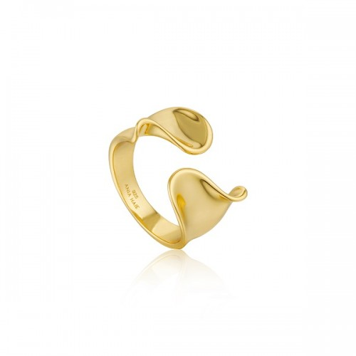 Sterling Silver Twist Wide Ring by Ania Haie