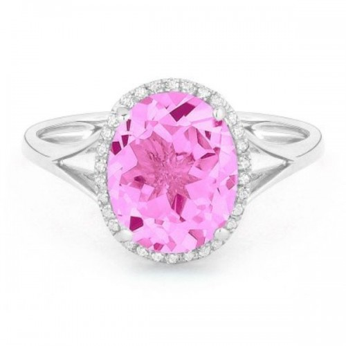 Ladies Pink Corundum & Diamond Ring