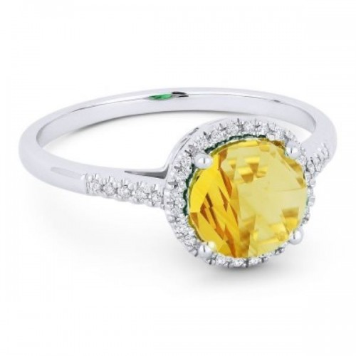 Ladies Citrine & Diamond Ring