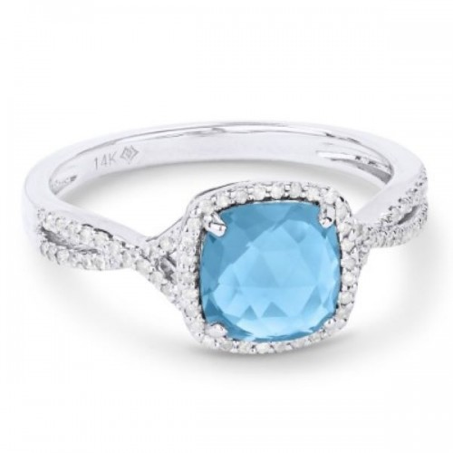 Ladies Blue Topaz & Diamond Ring