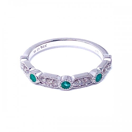 Ladies Emerald & Diamond Wedding Band