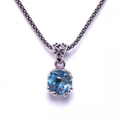 Sterling Silver Blue Topaz Pendant by Samuel B.
