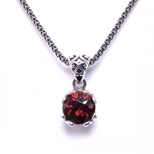 Sterling Silver Garnet Pendant by Samuel B.
