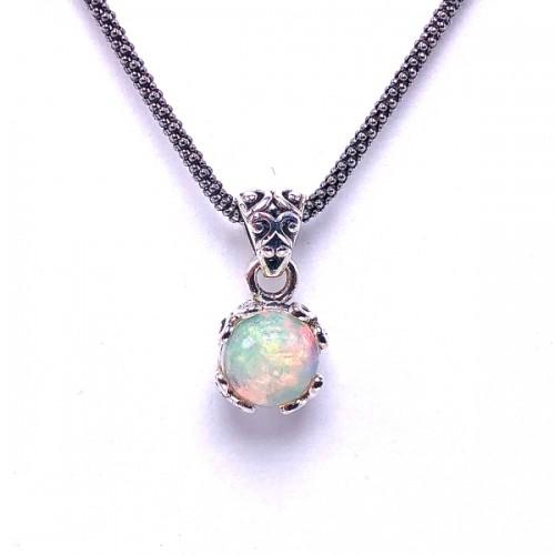 Sterling Silver Opal Pendant by Samuel B.