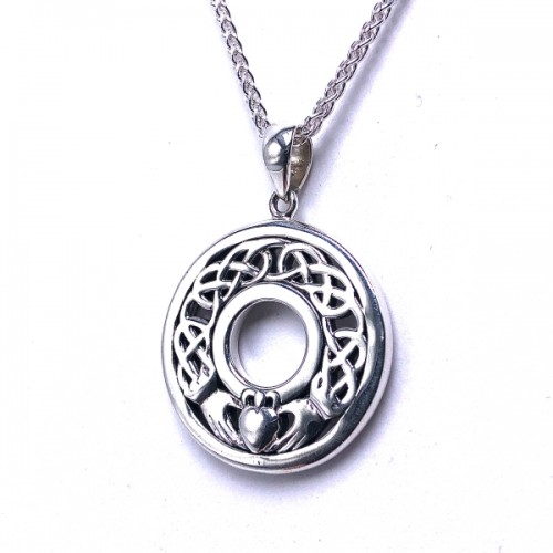Sterling Silver Claddagh Circle Pendant by Keith Jack