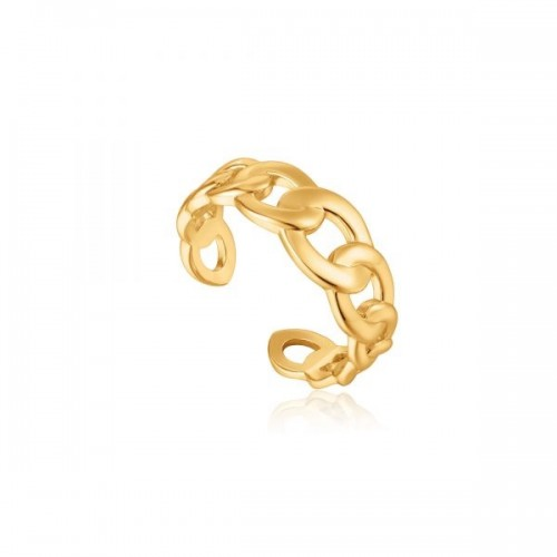 Sterling Silver Curb Chain Adjustable Ring by Ania Haie
