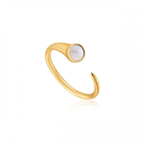 Ania Haie Yellow Mother-of-Pearl Claw Ring