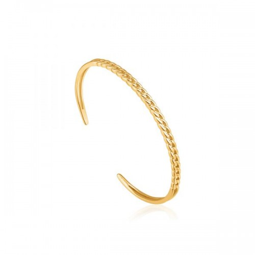 Sterling Silver Curb Chain Cuff Bracelet by Ania Haie