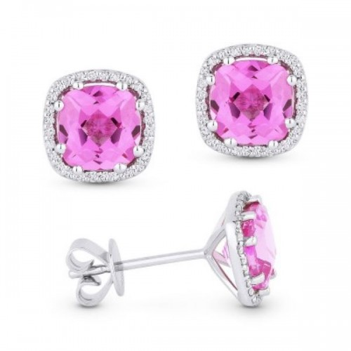 Pink Corundum & Diamond Earrings
