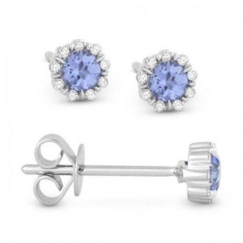 Light Blue Topaz & Diamond Earrings