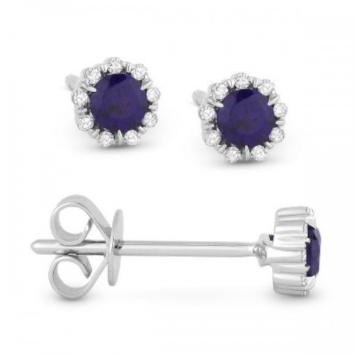 Blue Corundum & Diamond Earrings