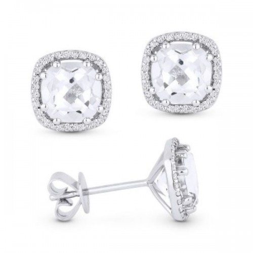 White Topaz & Diamond Earrings