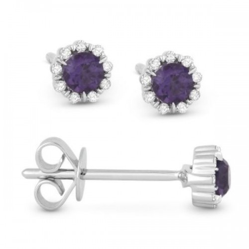 Alexandrite Corundum & Diamond Earrings