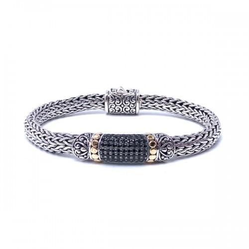 Sterling Silver & Black Spinel Bracelet by Samuel B.