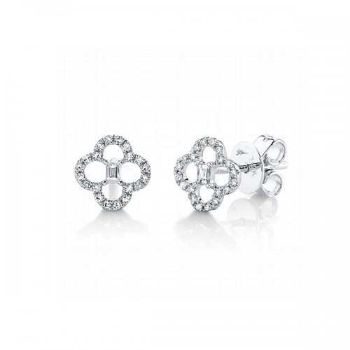 Clover Shaped Diamond Stud Earrings by Shy Creation