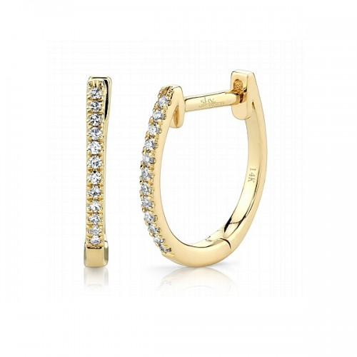 Huggie Style Diamond Hoop Earrings by Shy Creation