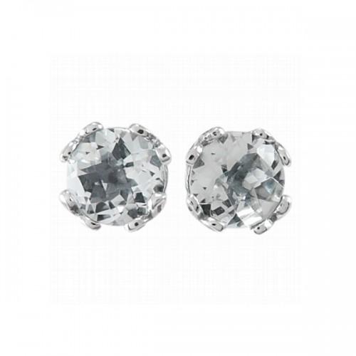Sterling Silver White Topaz Earrings by Samuel B.