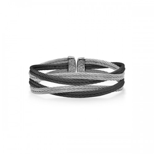 Black & Grey Entwine Steel Cable Cuff Bracelet by ALOR