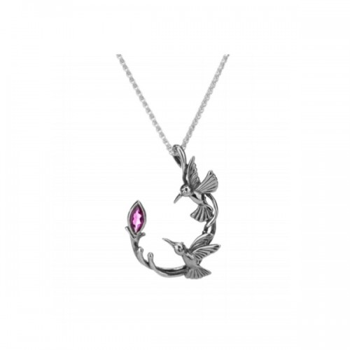 Sterling Silver Hummingbird Necklace by Keith Jack