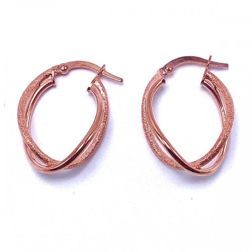 Double Oval Twist Gold Hoop Earrings