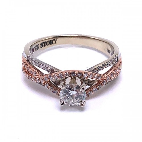 Round Diamond Woven Engagement Ring