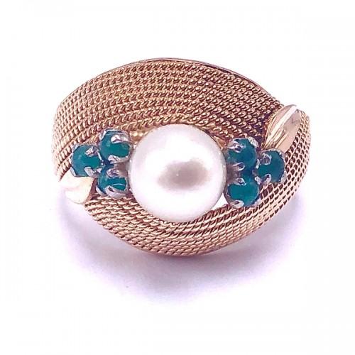 Estate Pearl & Emerald Ring