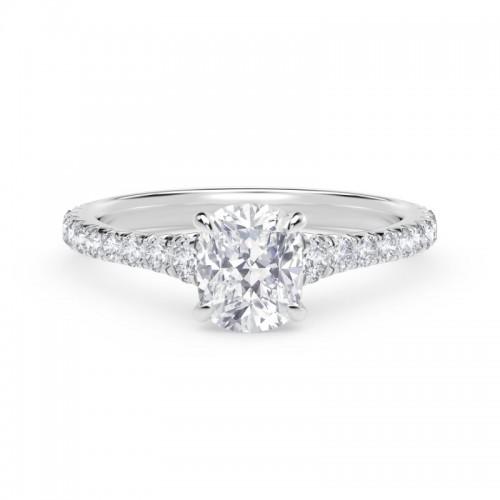 Forevermark Icon™ Setting Cushion Engagement Ring with Diamond Band