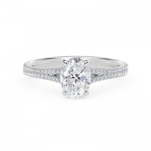Forevermark Icon®  Setting™ Oval Engagement Ring with Two Row Pave Band