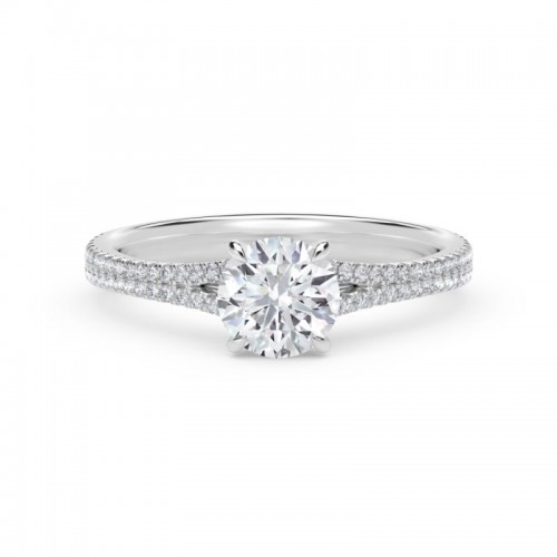 """Forevermark Iconâ""""¢ Setting Round Engagement Ring with Two Row Pave Band"""