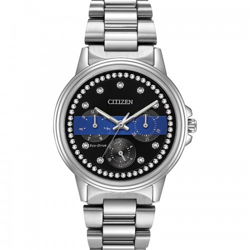 Women's Thin Blue Line Silhouette Crystal Watch For Law Enforcement