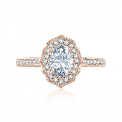 A.JAFFE Quilted Floral Milgrain Oval Engagement Semi Mount
