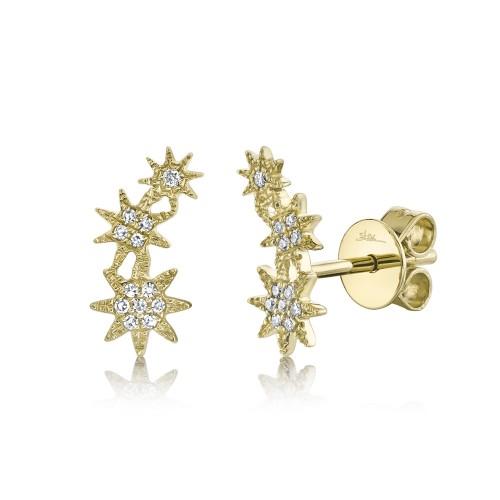 Lady's Yellow 14 Karat Star Stud Earrings With 0.06Tw Round Diamonds