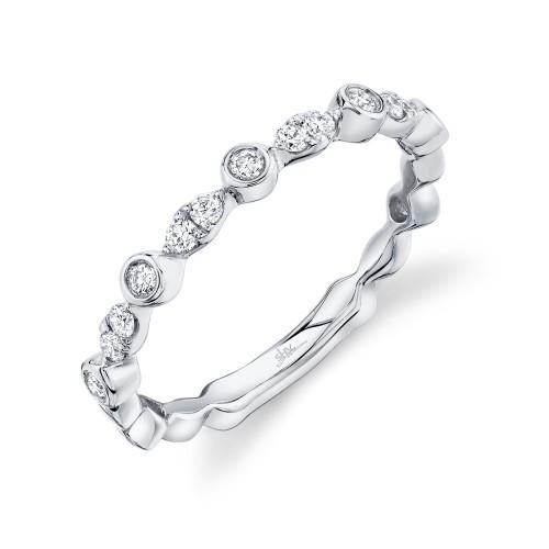 Lady's White 14 Karat Wedding Band With 0.22Tw Various Shapes Diamonds